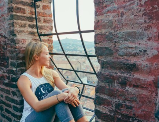 Megan Rae overlooking the city of Bologna at Sunset