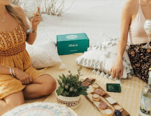 Megan Rae and Chelsea having a sunset picnic with items from Globe In