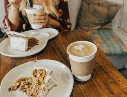 Latte Da Fairhope, Alabama enjoying carrot cake and coffee